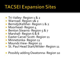 TACSEI Expansion Sites