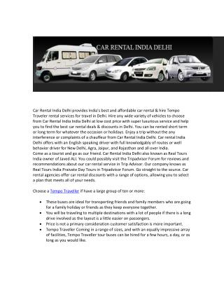 Car Rental India Delhi