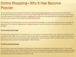 Online Shopping - Why It Has Become Popular