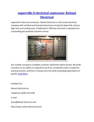 naperville il electrical contractor- Reliant Electrical