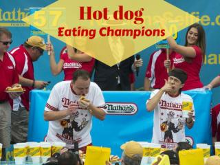 Hot dog eating champions