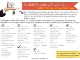 Rental Property Checklist - What Tenants should know