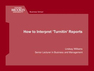How to Interpret 'Turnitin' Reports