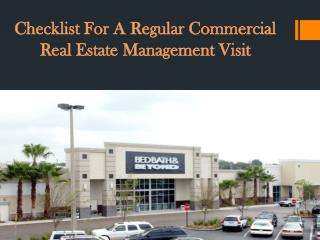 Checklist For A Regular Commercial Real Estate Management