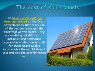 The cost of solar panels