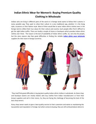 Women's Indian Ethnic Wear- Buying Premium Quality Wholesale