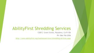 AbilityFirst Business Services Shredding Services