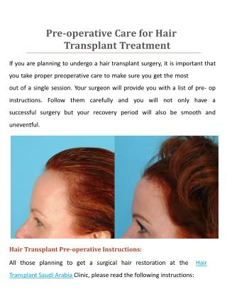 Pre-operative Care for Hair Transplant Treatment Saudi Arabi