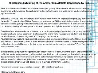 clickBakers Exhibiting at the Amsterdam Affiliate Conference
