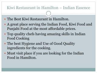 Kiwi Restaurant in Hamilton - Indian Essence