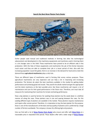 Search the Best Kinze Planter Parts Dealer