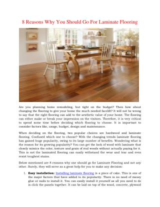 8 Reasons Why You Should Go For Laminate Flooring