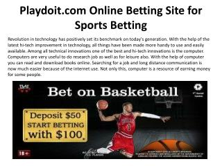 Playdoit.com Online Betting Site for Sports Betting