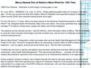 Mercy Named One of Nation's Most Wired for 12th Time