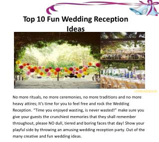 Top 10 Fun Wedding Reception Ideas