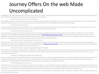 Journey Offers On the web Made Uncomplicated