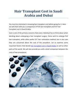 Hair Transplant Cost in Saudi Arabia and Dubai