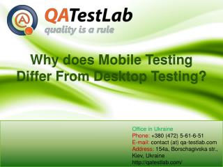 Why does Mobile Testing Differ From Desktop Testing?