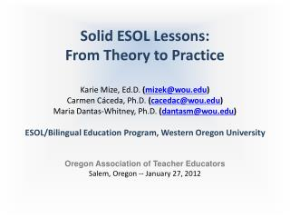 Solid ESOL Lessons:  From Theory to Practice