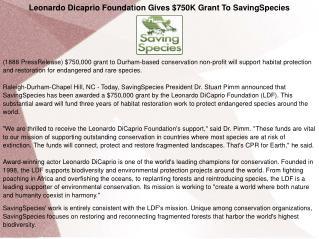 Leonardo Dicaprio Foundation Gives $750K Grant To SavingSpecies
