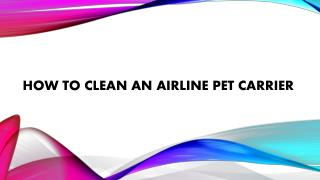 How to clean an airline pet carrier