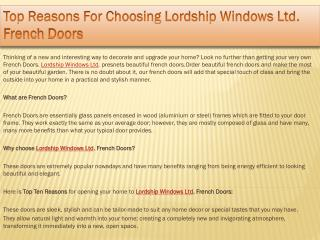 Top Reasons For Choosing Lordship Windows Ltd. French Doors