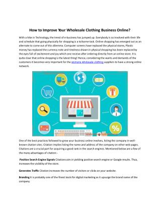 How to Improve Wholesale Clothing Business Online?