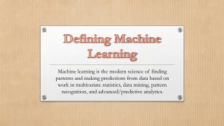 Defining Machine Learning