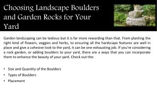 Choosing Landscape Boulders and Garden Rocks for Your Yard