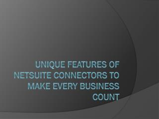 Unique features of NetSuite Connectors to make every