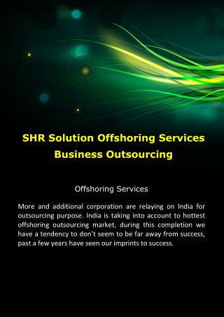 SHR Solution Offshoring Services