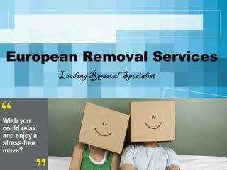Removals to Belgium - European Removals Services