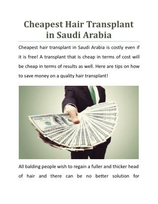 Cheapest Hair Transplant in Saudi Arabia