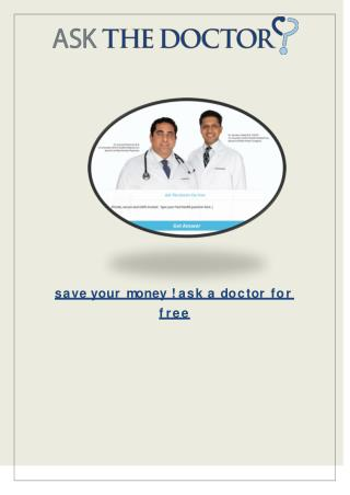 Save Money ! Ask A Doctor For Free