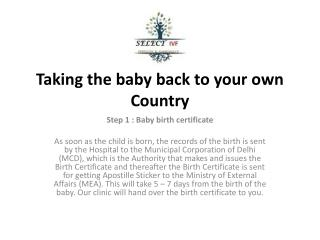 Taking the baby back to your own Country