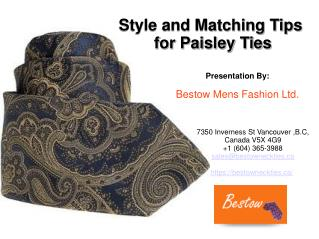 Style and Matching Tips for Paisley Ties