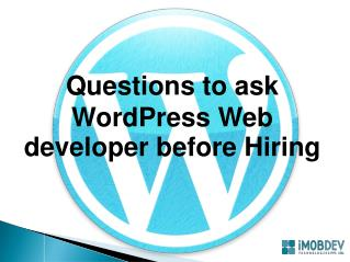 Should individuals ask these to WordPress Web Developer?