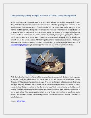 Conveyancing Sydney a Single Place for All Your Conveyancing Needs