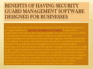 Benefits of having Security Guard Management Software Designed For Businesses