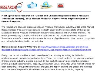Global and Chinese Disposable Blood Pressure Transducer Industry, 2015 Market Research Report