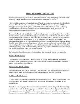 PATIALA SALWARS – A LATEST FAD