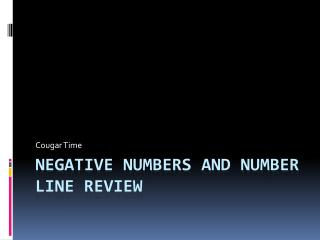Negative numbers and number line review
