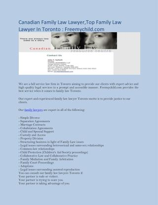 Canadian Family Law Lawyer,Top Family LawLawyer In Toronto : Freemychild.com