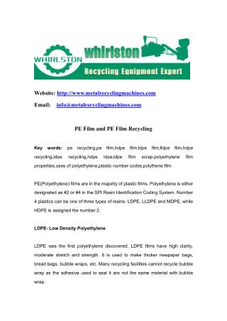 PE Film and PE Film Recycling