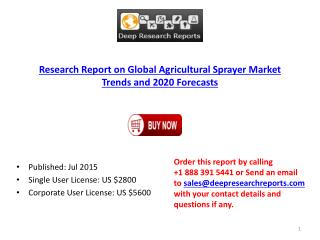 Agricultural Sprayer Sector Key Manufacturers 2015 Analysis Report