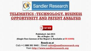Telematics: Technology, Business Opportunity and Patent Analysis Industry Growth Prospects and 2019 Insight