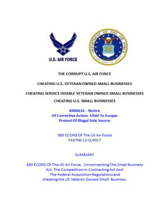 USMC 20150721 B406616 - Notice Of Corrective Action  USAF To Escape Protest Of Illegal Sole Source