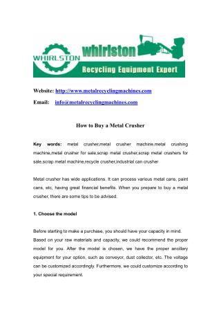 How to Buy a Metal Crusher