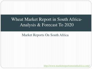 Wheat Market Report in South Africa-Analysis & Forecast To 2020
