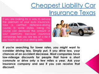 Cheapest Liability Car Insurance Texas